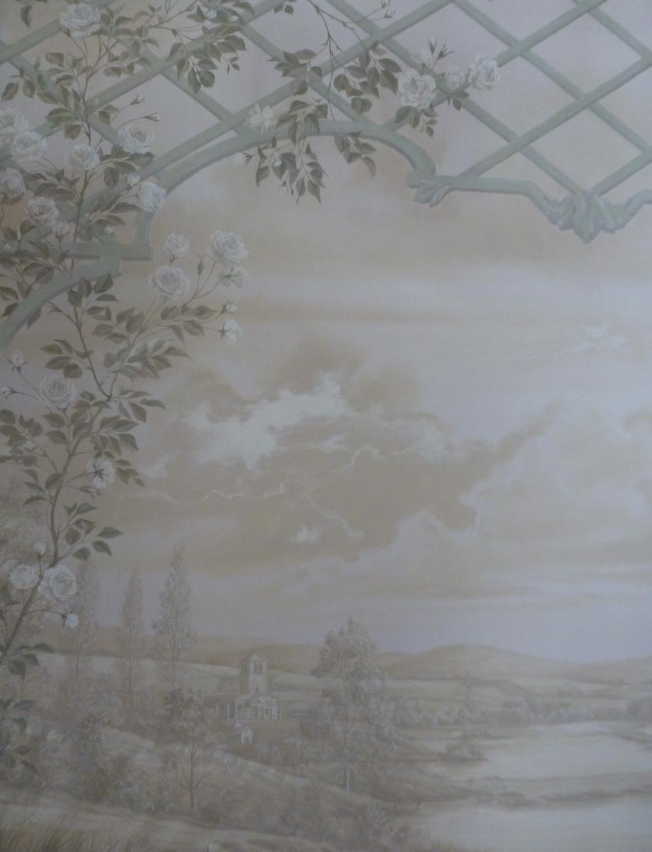 ..Décor sur toile salon  particulier- fresque en trompe l'oeil