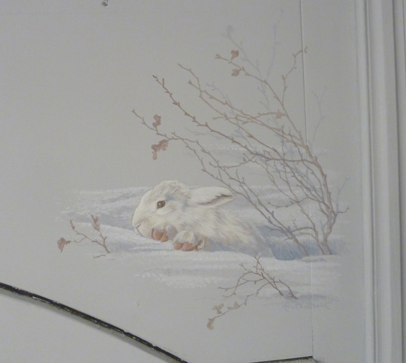 .Décor sur bois salon  particulier- fresque en trompe l'oeil