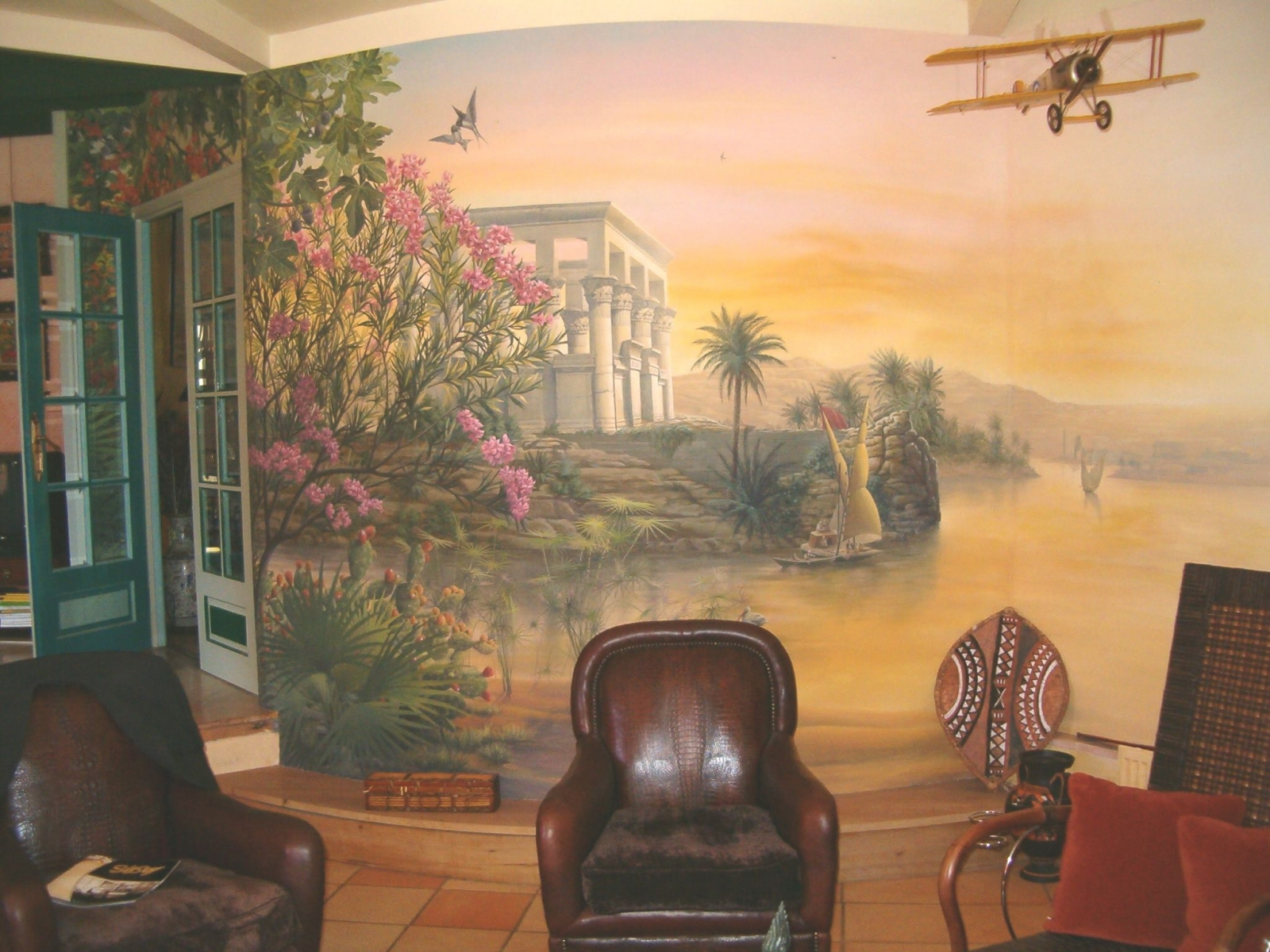 Décor salon particulier- fresque en trompe l'oeil.