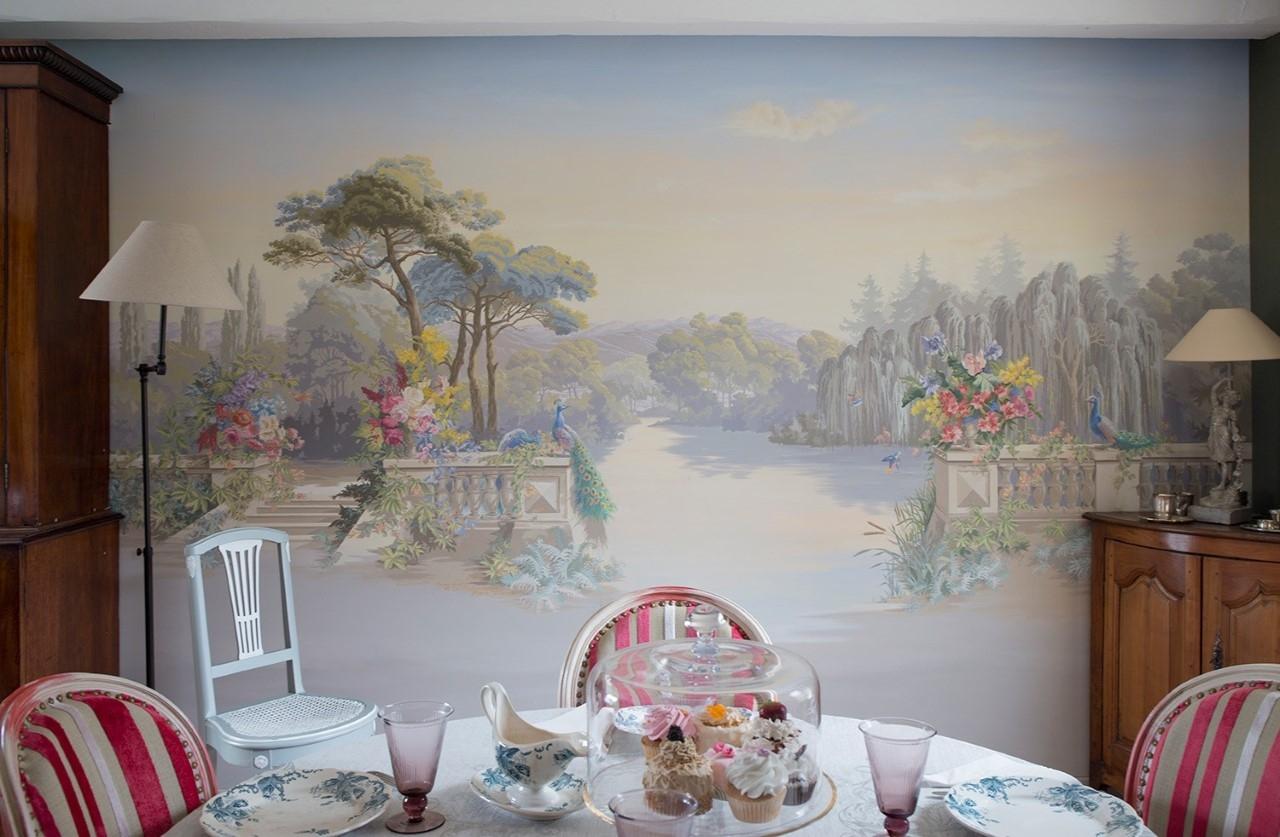 Zuber3-.Décor salon particulier à la manière des papiers peints Züber- fresque en trompe l'oeil.