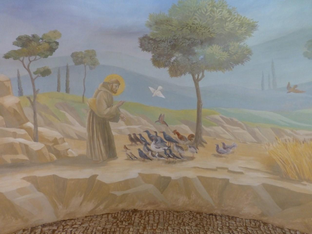 St François2 - Décor chapelle particulier à la manière de Giotto- fresque en trompe l'oeil.
