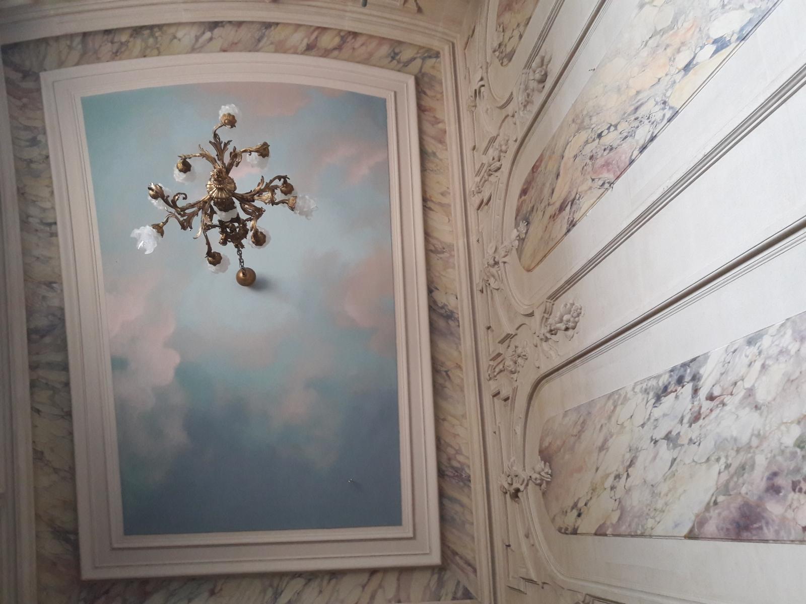 Décor Plafond château particulier- fresque en trompe l'oeil