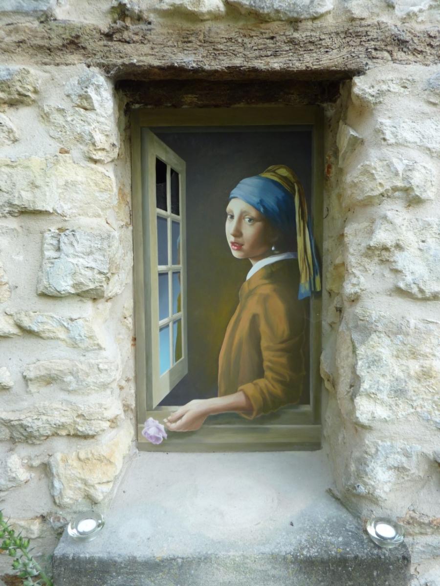 Vermeer- trompe l'oeil de fenêtres Décor extérieur façade particulier- fresque en trompe l'oeil