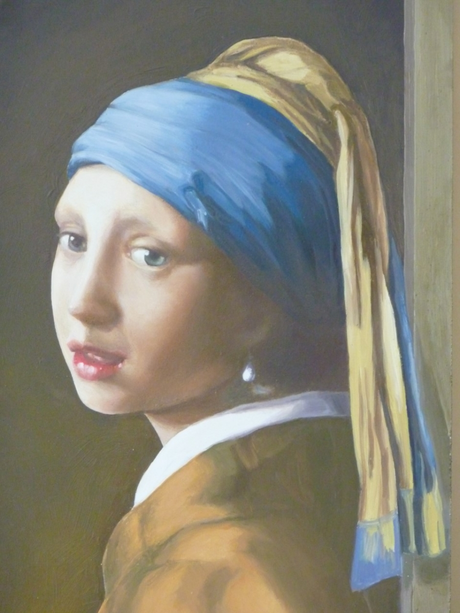 Vermeer détail - trompe l'oeil de fenêtres Décor extérieur façade particulier- fresque en trompe l'oeil