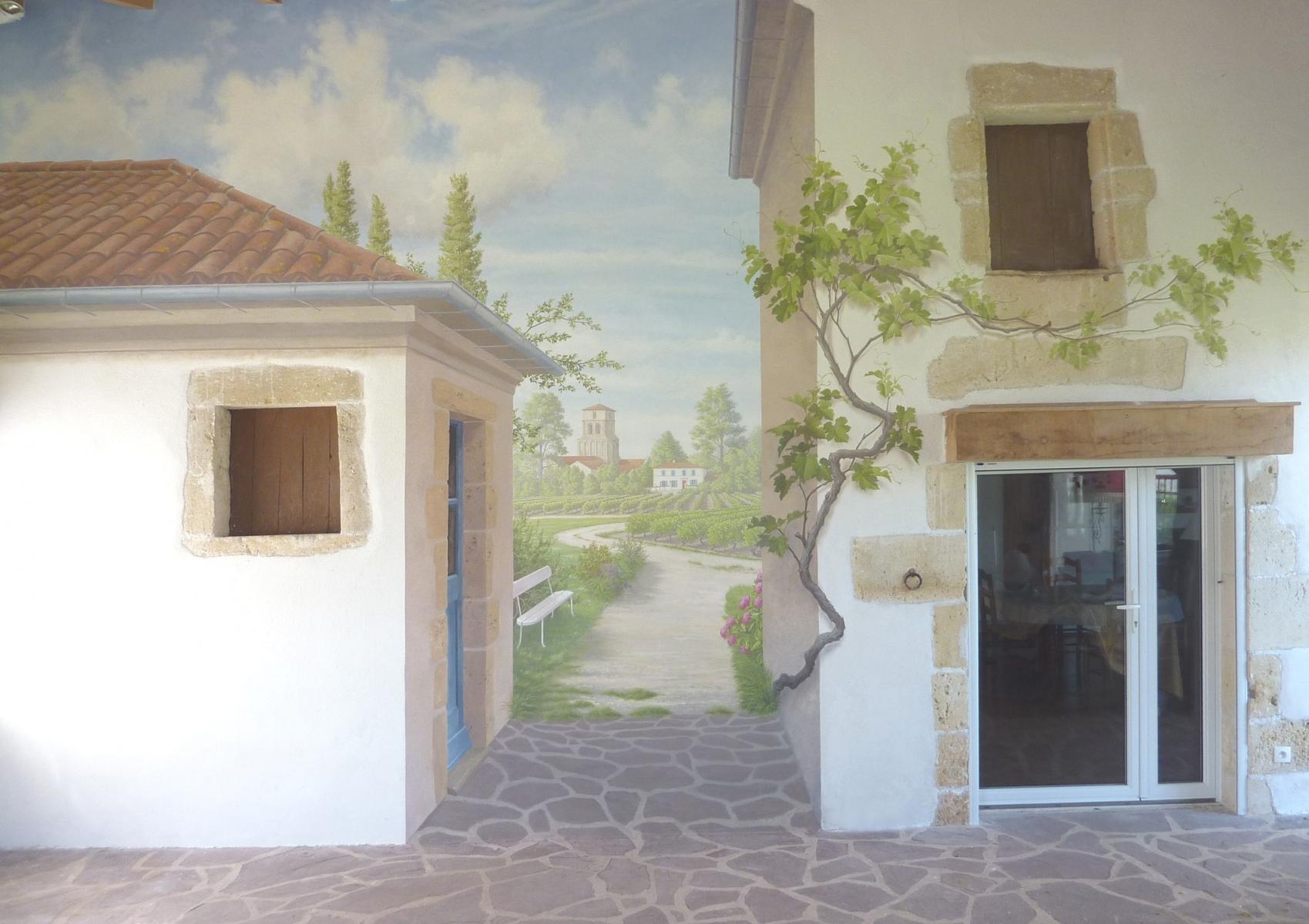 .Décor mur véranda particulier- fresque en trompe l'oeil