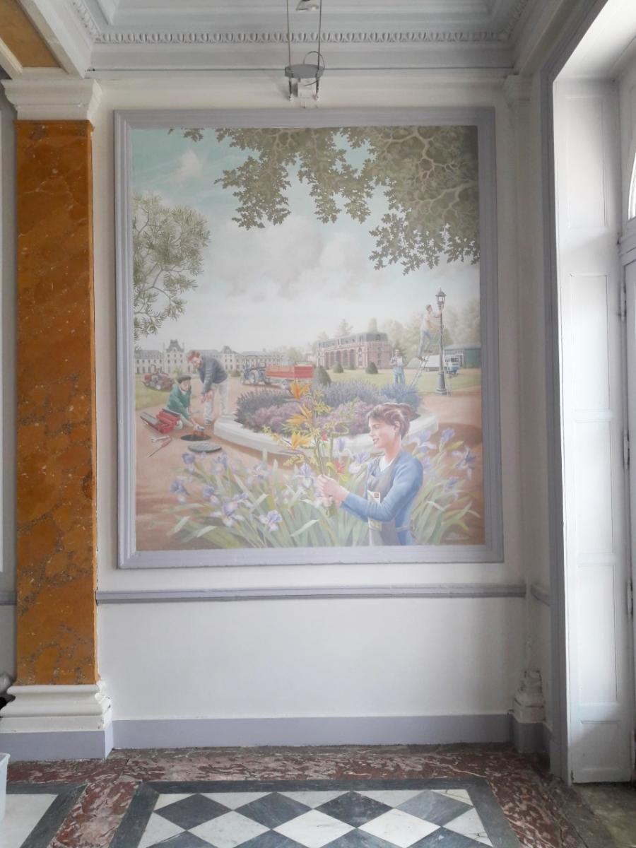 Château des Vaux Fondation Apprentis d'Auteuil  fresque en trompe l'oeil