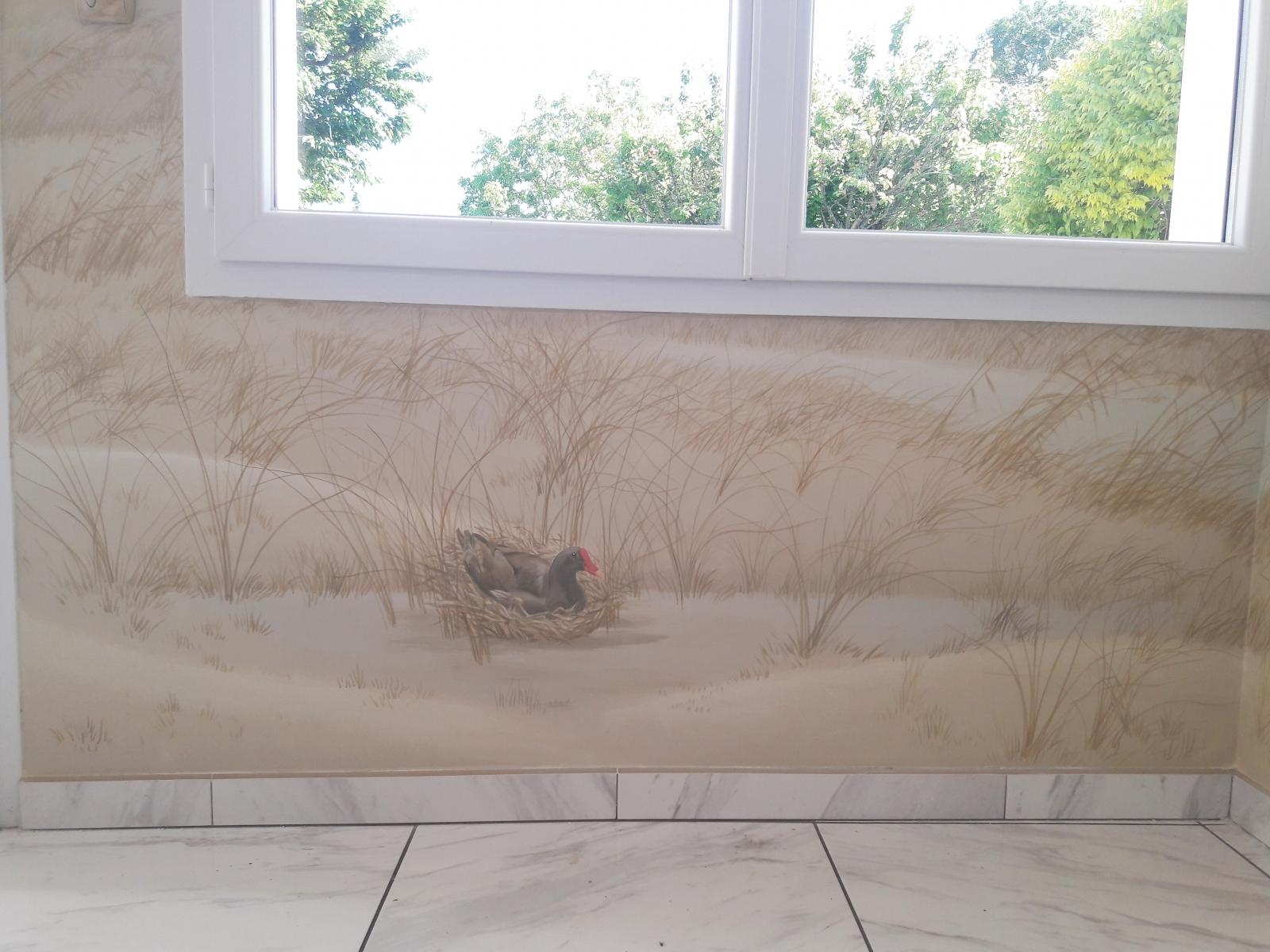 Décor sur toile salon  particulier- fresque en trompe l'oeil