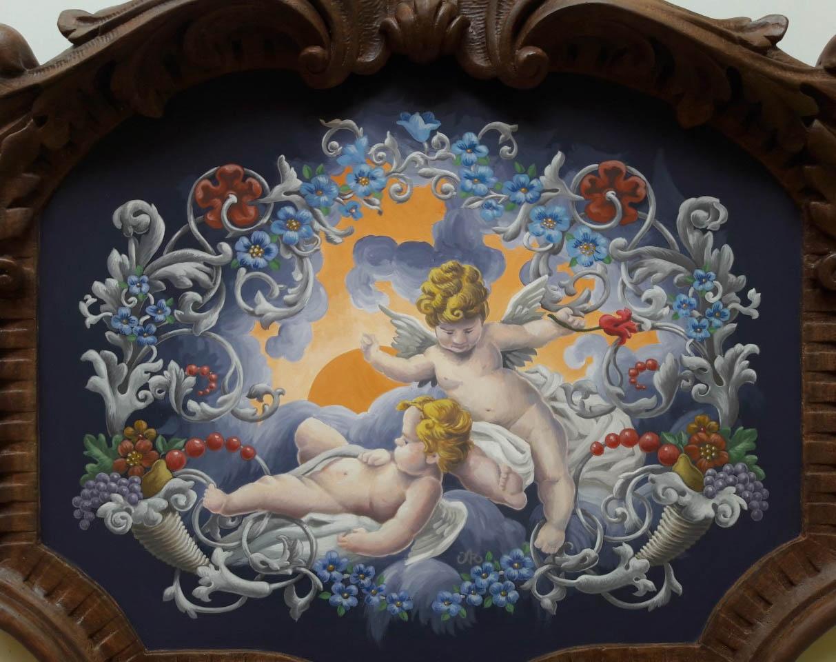 Cartouche Ornementé3 fresque en trompe l'oeil
