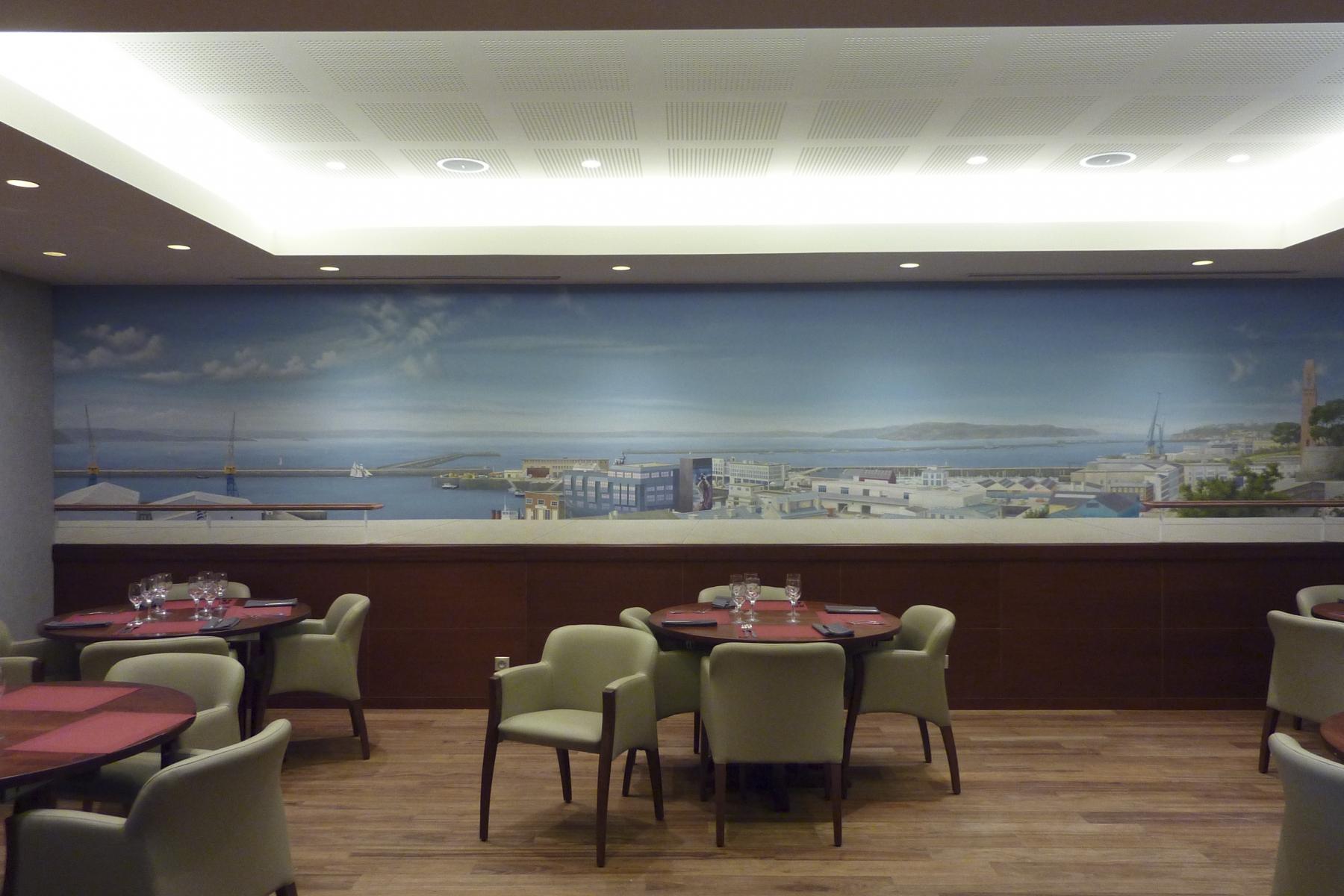 .Décor Restaurant Aux vieux Grééments- fresque en trompe l'oeil.