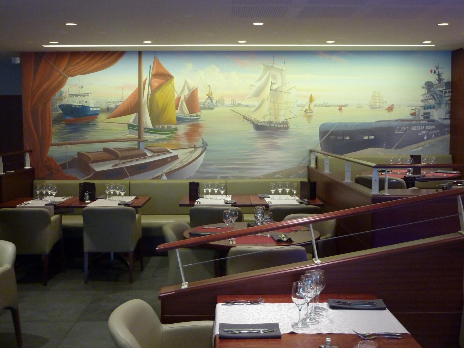 Décor Restaurant Aux vieux Grééments BREST- fresque en trompe l'oeil.