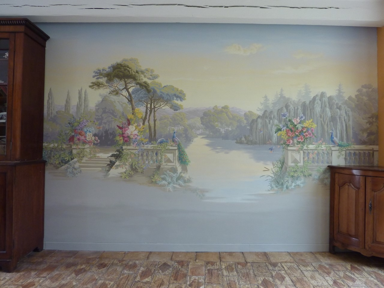 Zuber Décor salon particulier à la manière des papiers peints Züber- fresque en trompe l'oeil