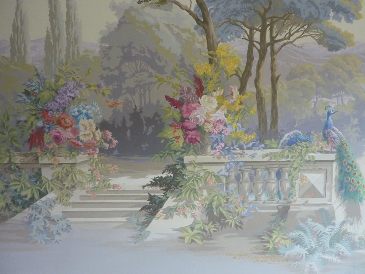 Zuber2- Décor salon particulier à la manière des papiers peints Züber- fresque en trompe l'oeil.