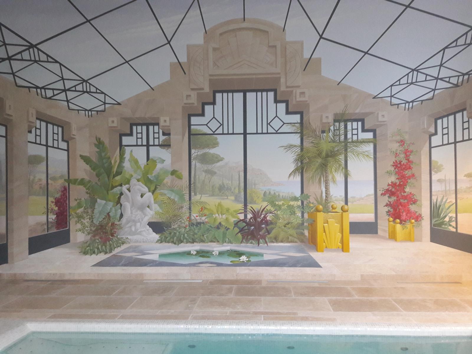 .Décor style ART DECO Piscine-spa de nage particulier- fresque en trompe l'oeil
