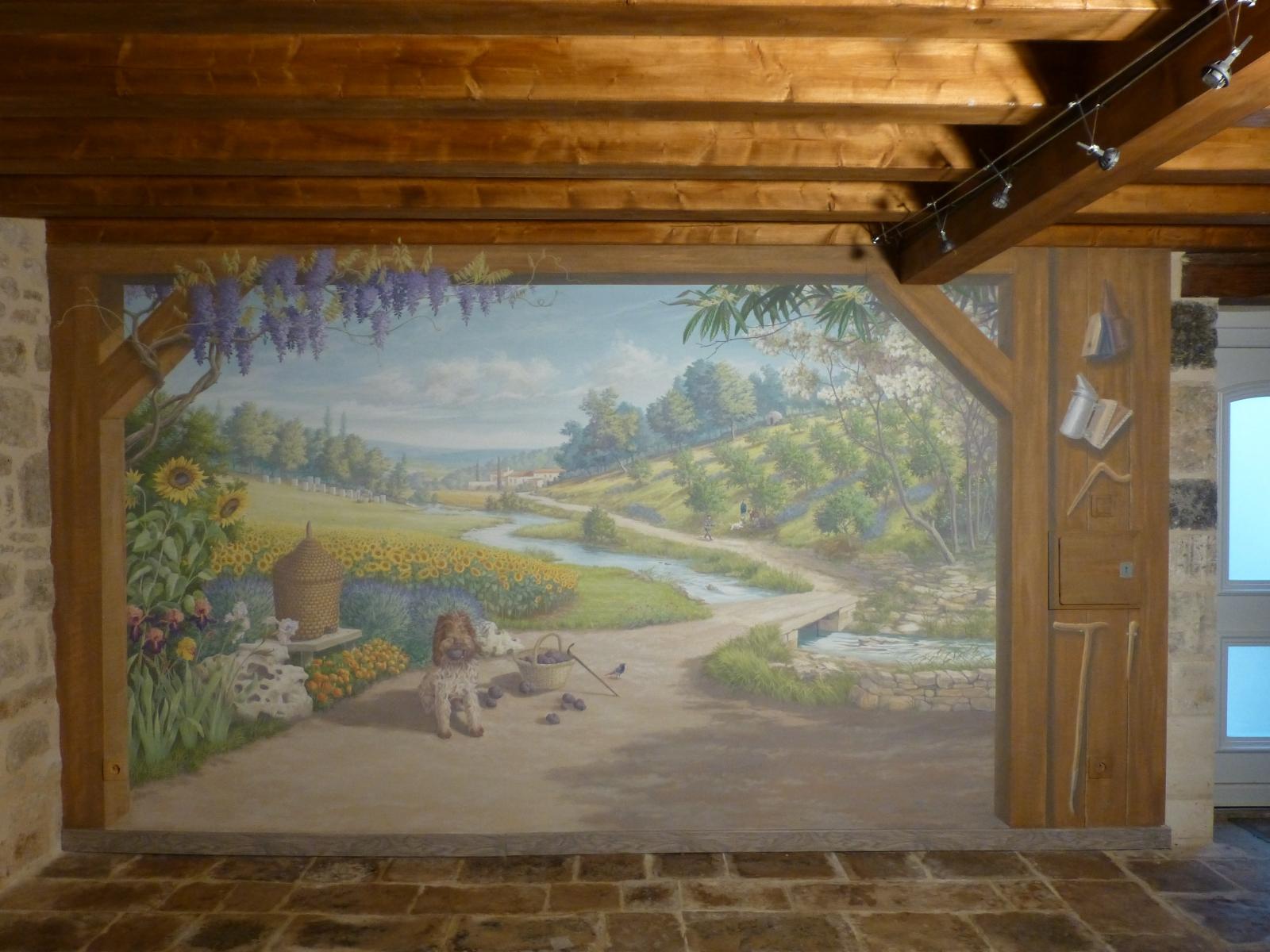 .Décor Musée de la Truffe- particulier- fresque en trompe l'oeil